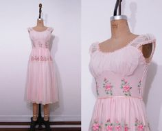 1950s pink floral slip / Vintage 50s embroidered lace by Ainshent, $45.00