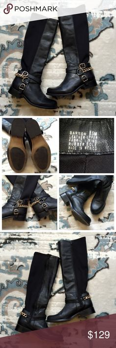 """Betsey Johnson Barron Black Leather Riding Boots Give your boots a boost with Betsey Johnson. The Barron riding boot will take your style to the next level as soon as you zip it up!  These are so stylish and comfy! Size 8.5. Excellent condition. Worn once or twice!! Black with gold hardware!!   Features: Leather and stretch fabric upper Metal chain and buckle detailing Almond toe 16"""" shaft height, inside zipper closure 13¾"""" calf circumference, back stretch panel for wider fit 1½"""" block heel…"""