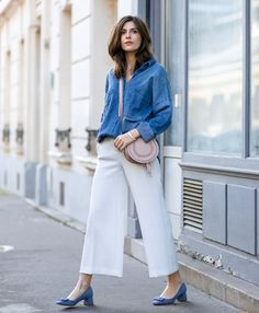 chambray shirt with culottes and cute shoes