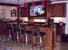 Hanging Light In Breakfast Bar Table, restaurant bar table, teak bar height table ~ Home Design Small Basement Bars, Wet Bar Basement, Basement Bar Plans, Basement Bar Designs, Modern Basement, Basement Ideas, Bar Table And Stools, Bar Height Table, Bar Tables
