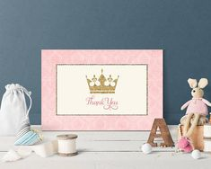 Princess Thank You Card Princess Birthday Party Gold Pink Princess Quinceañera Thank you Cards Digital Printable Instant Download Fairy Girl