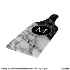 Trendy Black & White Marble Stone -Add Your Letter Cutting Board