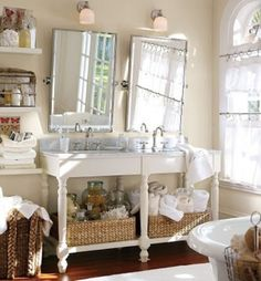 4 Persevering Tricks: Really Small Bathroom Remodel bathroom remodel modern wood tiles.Bathroom Remodel Storage Mason Jars really small bathroom remodel. Small Bathroom, Master Bathroom, White Bathroom, Bathroom Ideas, Wainscoting Bathroom, Bathroom Organization, Bathroom Storage, Bathroom Baskets, Bathroom Mirrors