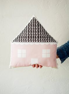 Our House shaped stuffed cushion is a textile fabric designed by Plumed as a part of our Generations line.