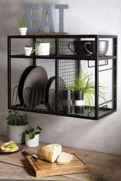 Home Decor Kitchen, Kitchen Interior, New Kitchen, Home Kitchens, Black Ikea Kitchen, Kitchen Rack, Metal Furniture, Furniture Design, Kitchen Wall Units