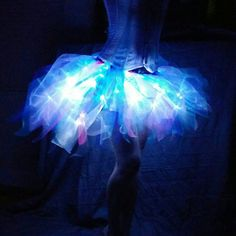 Bold Arctic Jellyfish 60 LED Adult Bustle Tutu Skirt in Organza for... (64 AUD) ❤ liked on Polyvore featuring costumes, skirts, party halloween costumes, adult halloween party costumes, role play costumes, adult halloween costumes and blue halloween costume