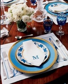 Chic Southern Belle - Monogrammed Napkins in Blue and White