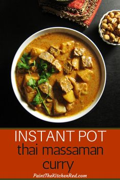 Fragrant and Flavorful Thai Instant Pot Massaman Curry with Beef recipe has creamy coconut, tender beef, potatoes and crunchy peanuts that combine to make this a highly satisfying, authentic-tasting r Thai Massaman Curry, Thai Beef Curry, Top Recipes, Indian Food Recipes, Beef Recipes, African Recipes, Drink Recipes, Best Instant Pot Recipe, Instant Pot Dinner Recipes