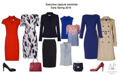 Dress business confident with executive style from Capsule Wardrobe Collection - Work Outfits Women Executive Outfit, Executive Style, Executive Woman, Executive Fashion, Wardrobe Sets, Core Wardrobe, Capsule Wardrobe Work, Capsule Outfits, Business Outfits Women