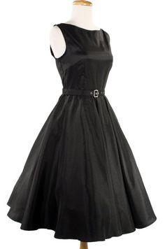 TOPSELLER! Hey Viv ! 50s Retro Style Party Dress - Black Satin $42.99