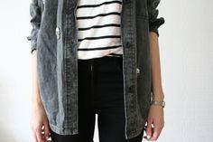 stripes & a stonewashed jacket