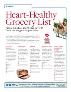 Heart Healthy Grocery List
