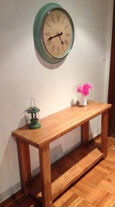 Entryway make over - hall console, clock and ornaments. http://styleunearthed.com/home-unearthed-entryway-make-over/