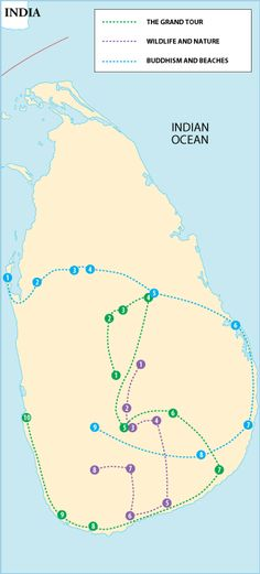 Sri Lanka Itineraries - Grand Tour, Wildlife and Nature Buddhism & Beaches - Great way to pick our route!