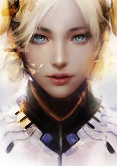 rainbow in your eyes | gamiing-art:   Overwatch  Fanart :  Mercy & D.Va ...