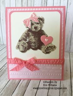 Stampin Up Baby Bear Stamp set. New Stampin Up Annual Catalog. Kim Williams www.stampinwithkjoyink.typepad.com. Pink Pineapple Paper Crafts. Festive emboss folder. Baby card ideas. Stampin Up card ideas. Sweet and Sassy hearts. Bear cards.