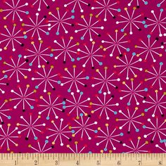 Michael Miller Love to Sew Pin Spin Jewel from @fabricdotcom  Designed for Michael Miller, this fabric is perfect for quilting, apparel and home décor accents. Colors include fuschia, orange, blue, white, black, and yellow.