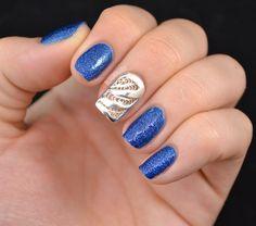 Nailed It: BOHEM Nail Jewelry - The REAL Party Nail #blue nails #nails #nailart #nails design #uñas #diseño uñas #uñas azul #azul #decoracion uñas