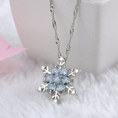 05d7324dd51c Charm Vintage lady Blue Crystal Snowflake Zircon Flower Silver Necklaces    Pendants Jewelry for Women Item Type  NecklacesNecklace Type  Pendant ...