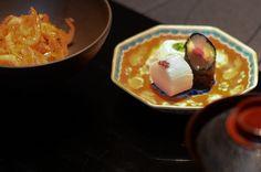 Sakura Tea-simmered Rice with Sakura Shrimp, Pickles, and Shrimp-Miso Broth Food and Chef Photos: Chef Seiji Yamamoto of RyuGin - Tokyo, Japan Miso Broth, Tokyo Japan, Yamamoto, Pickles, Shrimp, Rice, Pudding, Tea, Cooking