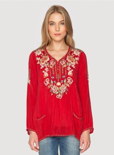 Carnation Blouse The Johnny Was CARNATION BLOUSE exudes bohemian style! This boho blouse features a colorful Far East-inspired floral embroidery design along the front, back, and sleeves. With a button front with tie and two decorative front pockets, this embroidered top is all about the details!  - Rayon Georgette - Crew Neckline with Tie, Four Button Henley Front, Long Sleeves, Two Decorative Front Pockets - Signature Embroidery - Care Instructions: Machine Wash Cold, Tumble Dry Low