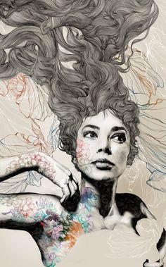 Beautiful illustration by Gabriel Moreno via Sweet Station Art And Illustration, Gabriel, Tachisme, Foto Art, Portrait Art, Portraits, Urban Art, Art Inspo, Amazing Art