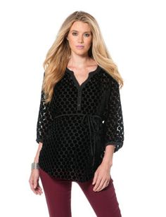 Motherhood Maternity Jessica Simpson 3/4 Sleeve Decorative Trim Maternity Blouse