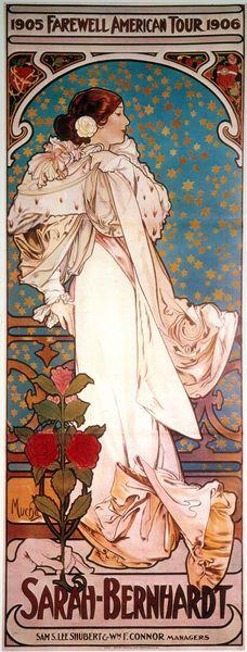 Sarah Bernhardt, Farewell American Tour, by Alphonse Mucha