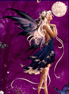 Three of my favorite things combined.  Purple, Moon and Fairies.  The trouble was deciding which board to pin it too!  lol