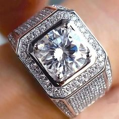 Luxury Jewelry Hot Top Selling Handmade 925 Sterling Silver Round Cut Clear White CZ Wedding Pave Party Men Ring Size - May 18 2019 at Diamond Bands, Diamond Cuts, Round Cut Diamond, Argent Sterling, Sterling Silver, 925 Silver, Engagement Jewelry, Wedding Engagement, Engagement Rings For Men