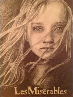 Little Cosette. By Evie Johnston. Age 17. From Glasgow. Pencil. #lesmis #theatre #musicals www.lesmis.com
