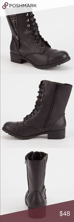 Black combat boots Brand new! New arrival! ✨ true to size! Also available in brown! You can hide the plaid pattern with zipper or show it off😍 perfect for year round 😻 #shopthemarbella price is firm Shoes Combat & Moto Boots