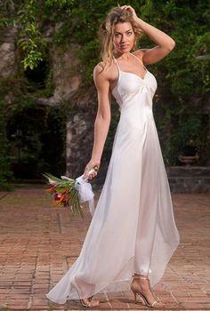 Simple Silk & Chiffon Beach Wedding Dress (EP0002)