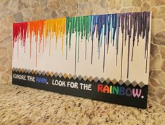Hey, I found this really awesome Etsy listing at https://www.etsy.com/listing/178453605/melted-crayon-art-with-rainbow-and-quote