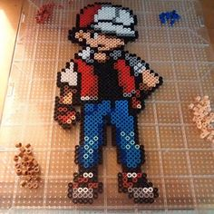 Trainer Red - Pokemon perler beads by retroryangee