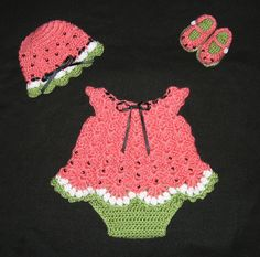 Diaper Dress Set for Baby Girl  with  Booties, Hat, and Diaper Cover Watermelon Baby Dress. $32.00, via Etsy.