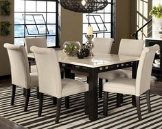 mondavi espresso 5 pc dining room w/pearl chairs. comprised of