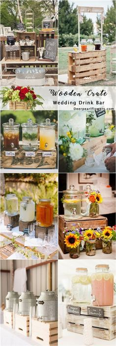 Rustic country wooden crate wedding drink stand ideas