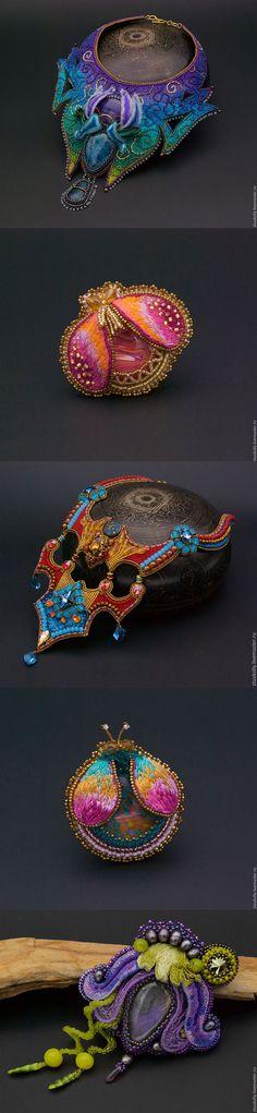 Fantastic hand embroidered jewelry by Elena Kozyryatskaya