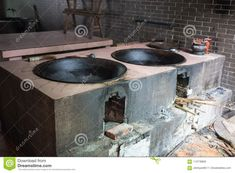 Chinese old kitchen royalty free stock images Kitchen Stove, Old Kitchen, Corner Sofa And Chair, Asian Kitchen, Brick And Wood, Rocket Stoves, Summer Kitchen, Transitional Kitchen, Exposed Brick