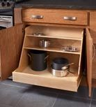 Get organized with one of KraftMaid's 200 customizable Harmony storage solutions cabinetry options. The base pot and pan organizer, shown, keeps everything in its place, while offering easy access to cooking essentials. Kitchen Pantry, Kitchen And Bath, New Kitchen, Kitchen Storage, Kitchen Decor, Kitchen Cabinets, Kitchen Ideas, Base Cabinets, Kitchen Shelves