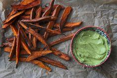 Spicy Sweet Potato Fries w/ Avocado Dip