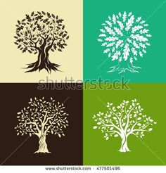Beautiful oak trees silhouette set isolated on color background. Web graphics modern vector sign. Premium quality illustration logo design concept.