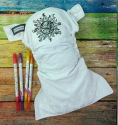 Embroidered cloth diaper / adult coloring / Little Beasties / one size pocket / adjustable elastic & leg gussets / sun embroidery