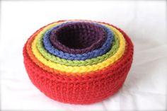 Set of 6 Crochet Stacking Bowls Crochet Bowls by ZawiHatsAndMore