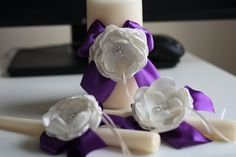 Ivory Plum Unity Candles, Ivory Pillar and Stick Wedding Candle, Egg Plant Handmade Bow Unity Candle, Ribbon Bow, flower + brooch - Wedding Decorations Wedding Unity Candles, Pillar Candles, Ring Bearer Pillows, Candle Set, Flower Brooch, Ribbon Bows, Purple Wedding, Wedding Accessories, Plum
