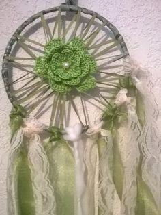 Green Organza Ribbon Crochet Lace Dream Catcher, Center Crochet Flower,silk ribbons and roses,delicate ivory lace,green organza ribbons,7 in