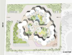 Guan Governmental Kindergarten contains 30 classes with overall 800 children from age The concept was setup by a basic hexagon/honeycomb shaped classroom modules which are then aggregated into… Module Architecture, Classroom Architecture, Architecture Concept Drawings, Landscape Architecture Design, Futuristic Architecture, School Architecture, Kids Yard, Honeycomb Shape, Kindergarten Design