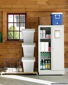 Carve Out Storage Space - If the only thing that fits in your garage is your cars, spring-cleaning time could not have come too soon. Clear out the clutter and establish some designated spaces. You'll enjoy your new and improved layout for seasons to come. First, set up a recycling station and a spare pantry. Bins for plastic, metal, and glass containers, plus a wire basket for newspapers (with bundling twine) sit on a mobile platform.