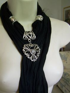 I want it!Black Jewelry Scarf necklace scarf necklace by Lacesanddreams, $23.00: